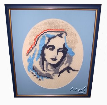 "Croatian souvenir - Mother of God with Croatian tricolor, called ""Queen of Croats"""